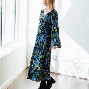Banjanan Blue Green Floral Midi Ruffle Basia Dress